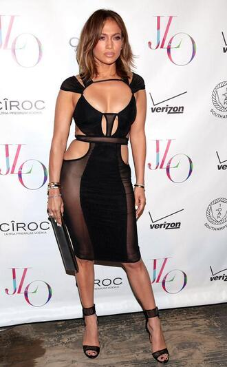 dress cut-out jennifer lopez black dress mesh sheer see through dress black sexy sexy dress shoes cut-out dress