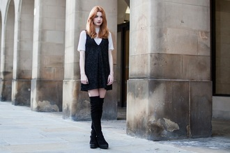 hannah louise fashion blogger thigh high boots back to school dress top shoes jewels