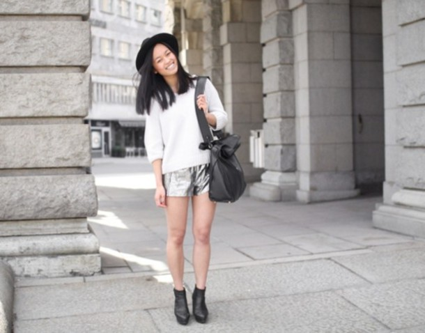 shorts silver shorts sweater white sweater bag black bag hat felt hat boots black boots fall outfits streetstyle
