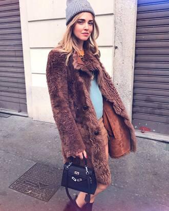 coat tumblr brown camel coat camel beanie grey beanie skirt mini skirt bag black bag chiara ferragni the blonde salad blogger fur coat long fur coat