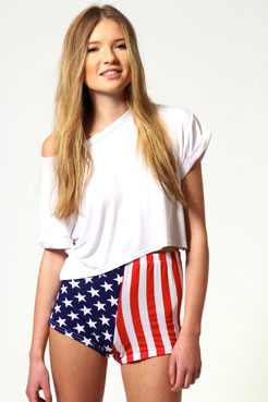 Tess stars and stripes hotpants at boohoo.com