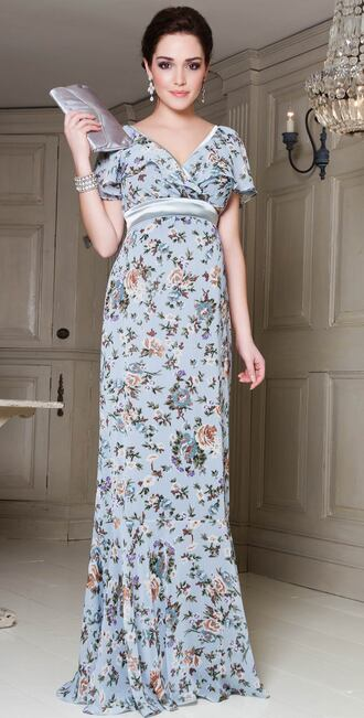 dress long dress floral pattern empire waist v neck short sleeve cap sleeves flowy sleeved shapley dress vintage blue dress