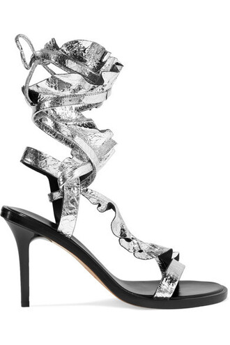 metallic sandals leather sandals silver leather shoes