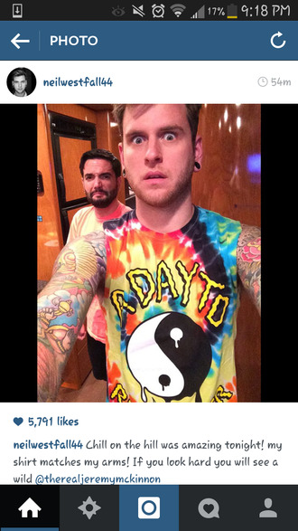 tie dye muscle tee a day to remember band merch instagram yin yang melting yin and yang adtr colorful mens t-shirt