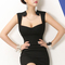 Fashion and sexy v neck tank sleeveless sheath black mini dress  on luulla