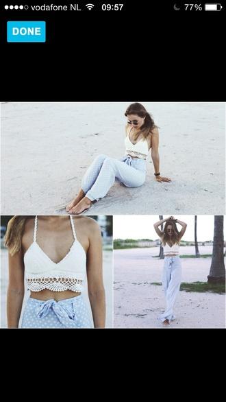 blue high waisted top pants beach summer outfits