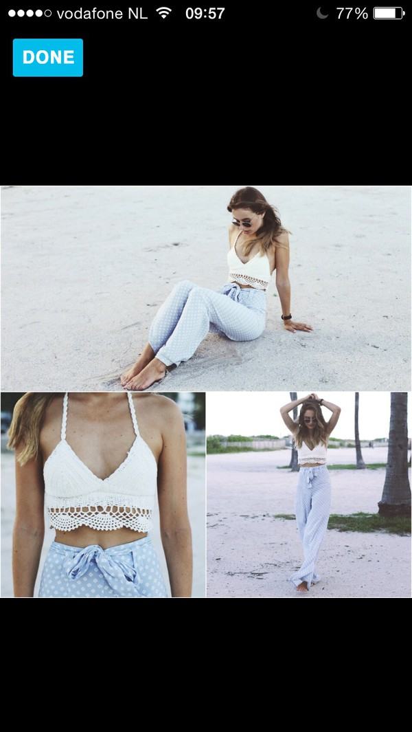 blue high waisted top pants beach summer outfits