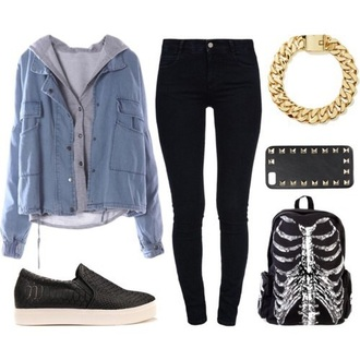 jacket jeans sweater gray bag