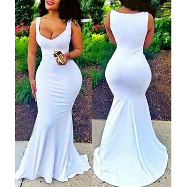58f4d646927ba6 Sexy White Plunging Neck Sleeveless Bodycon Fishtail Maxi Dress ...