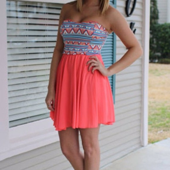 dress coral dress aztec boho bohemian bandeau instagram instagramfashion