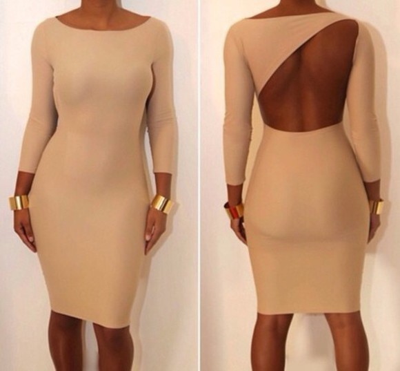 brown dress dress tumblr hot classy sexy bodycon dress beige dress nude backless midi backless dress