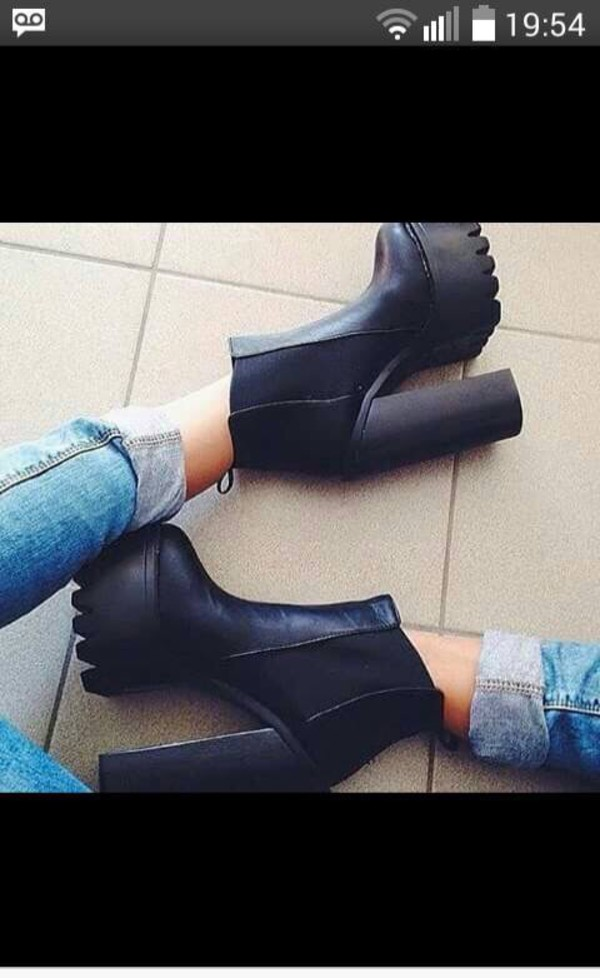 leather boots shoes black boots heels platform shoes high heels