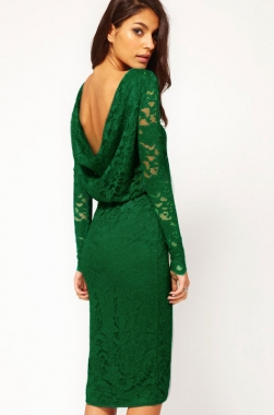 Dear-Lover Green Sexy Midi Dress in Lace with Cowl Back and Split