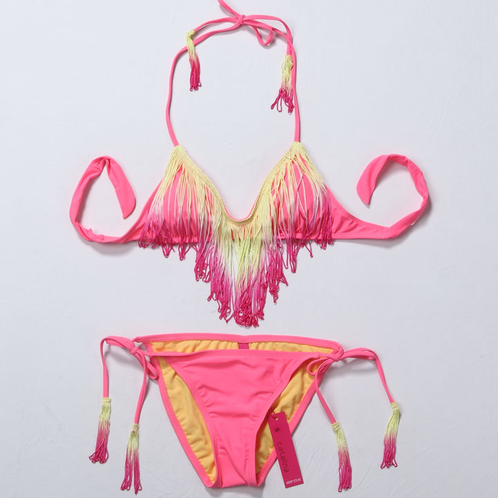 free shipping new Gradient colour tassel beach bikini push up bra women swimwear sexy clothes set-inBikinis Set from Apparel & Accessories on Aliexpress.com