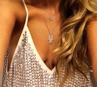 blouse silk cami camisole beads sequin disc metalic silver crea ca cami vest silver embellished top embellished camisole metallic