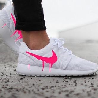 shoes pink nike roshe run nike nike shoes dripping drips roshe runs