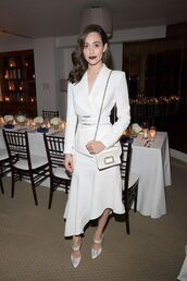 skirt,asymmetrical,asymmetrical skirt,white,all white everything,emmy rossum,blazer,jacket