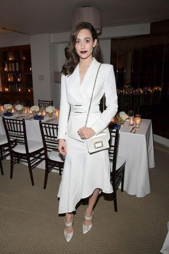 skirt asymmetrical asymmetrical skirt white all white everything emmy rossum blazer jacket