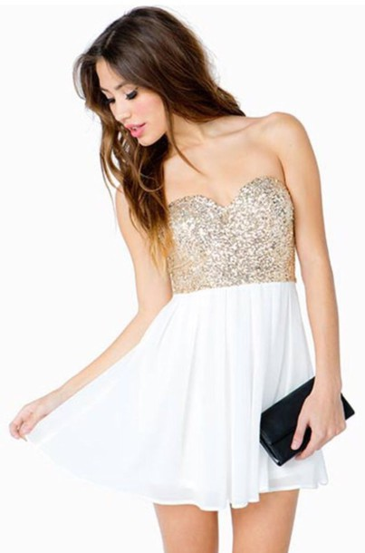 White and gold sequin dress pictures