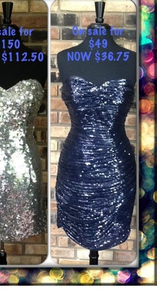 navy dress sparkles short strapless