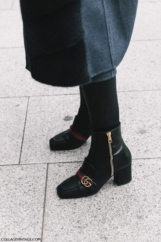 shoes tumblr boots fashion week 2017 streetstyle thick heel boots thick heel ankle boots black boots gucci gucci shoes tights opaque tights coat grey coat