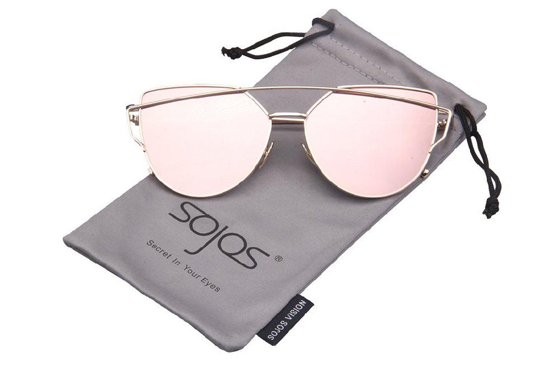 85005e0572d ... Amazon.com SojoS® SJ1001 Cat Eye Mirrored Flat Lenses Street Fashion Metal  Frame Women ...