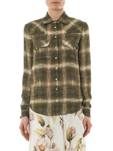 Ghostly plaid-print silk shirt | Haute Hippie | MATCHESFASHION...
