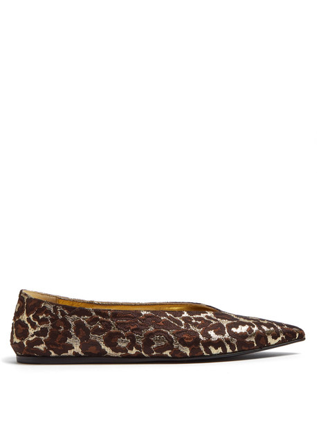 flats print gold shoes