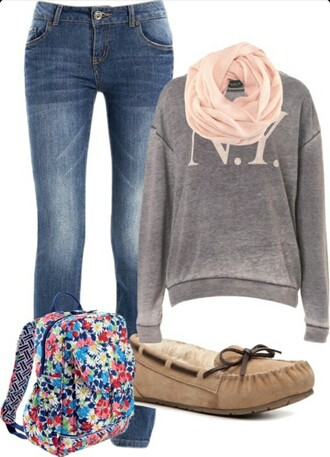 blouse jeans scarf shirt top sweater shoes