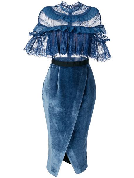 self-portrait dress lace dress women spandex lace blue