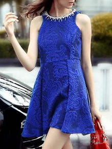 Blue Round Neck Sleeveless Flare Dress -SheIn(Sheinside)