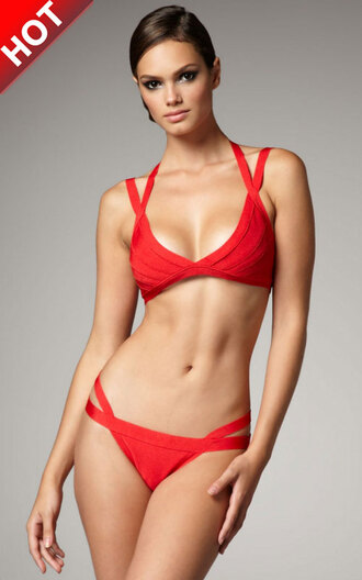 swimwear herve leger bandage swimwear red swimwear