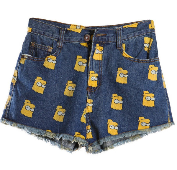 Bart Simpson Print Jeans Shorts (2 colors available) – Glamzelle