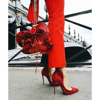 bag tumblr red bag sequins sequin bag pants red pants shoes red shoes high heels pumps pointed toe pumps high heel pumps all red wishlist