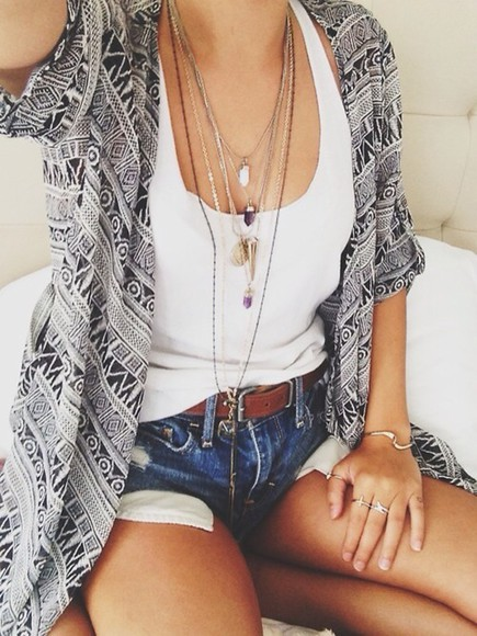 cardigan ethnic black & white t-shirt jewels sweater trible tribal pattern black and white