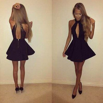 dress halter neck open front black