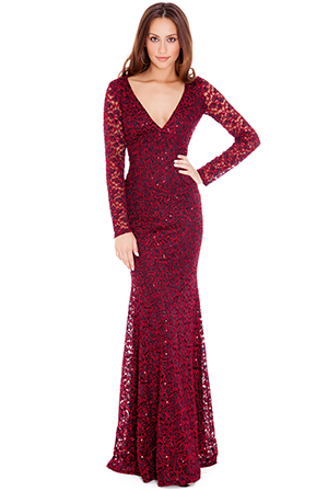 Backless Sequinned Evening Maxi Dress