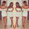 2014 new arrival !! women summer dress , stylish bodycon lady women white lace dress slash neck cocktail mini dress