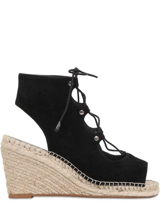 sandals wedge sandals lace suede black shoes