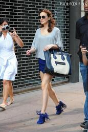 shoes,blair waldorf,blair,gossip girl,blue,fringes,bag,shorts