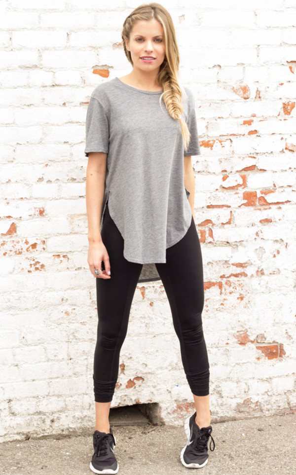 shirt grey t-shirt top slouchy t-shirt