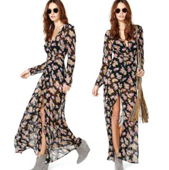 boho festival bohemian dress maxi dress floral print dress slit long sleeves floral grunge 90's