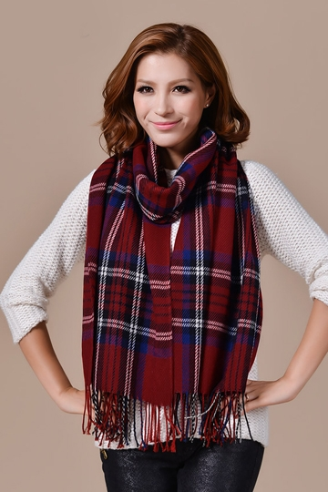 British Style Plaid Pashmina Scarf with Tassels [FQBJ0098] - PersunMall.com