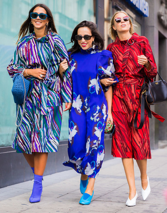 shoes white shoes stockholm fashion week streetstyle dress floral floral dress midi dress blue dress boots sock boots bag sunglasses red dress