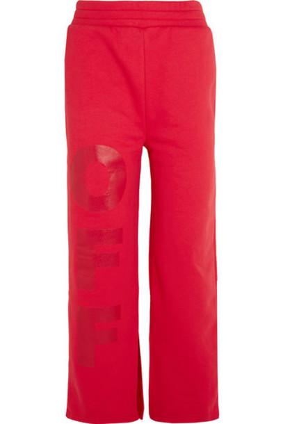 Off-White - Off Split-hem Printed Cotton-jersey Track Pants - Red