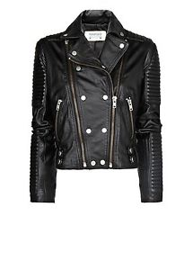 MANGO ZARA GROUP DOUBLE BREASTED BIKER LEATHER JACKET WITH QUILTED PANELS SIZE M