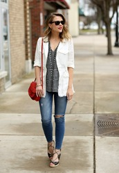 pennypincherfashion,blogger,jacket,top,jeans,shoes,bag,jewels,red bag,shoulder bag,white jacket,sandals,skinny jeans,tumblr,gingham,v neck,printed top,denim,blue jeans,earrings,gold jewelry,gold earrings,jewelry