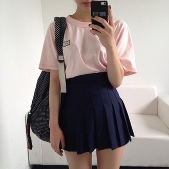 skirt pale grunge baby girl aesthetic tumblr tumblr aesthetic bag tennis skirt hipster backpack school bag blue skirt fashion dope trendy summer t-shirt asian fashion korean fashion pink