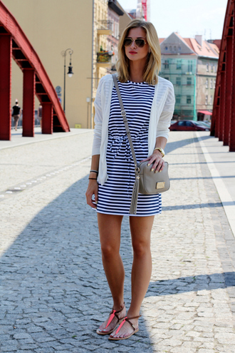 cardigan shoes bag sunglasses jewels blogger stripes striped dress summer outfits summer dress sandals watch beach clutch shoulder bag mini bag grey bag white jacket mini dress