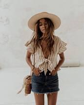 top,hat,tumblr,crop tops,v neck,stripes,striped top,skirt,denim,denim skirt,mini skirt,straw hat